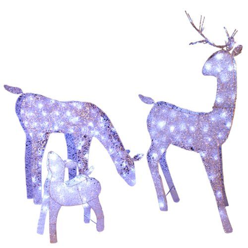 Set of 3 Silver Splendor White LED Deer Family Christmas Yard Art Decoration 48""