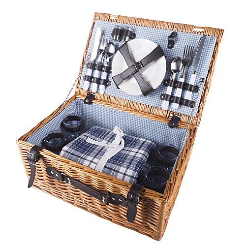 Picnic Basket Dish Set : Hicollie person wicker picnic basket hamper set with