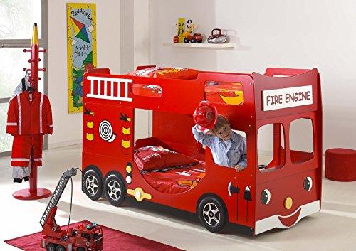 Vipack SCFTBB19 Lit Pompier Superposé et Rouge MDF Rouge 211 x 96 x 130 cm
