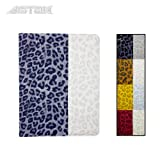 Astak Fashionable Animal (Leopard) Print Folding 360 Degree Rotating Folding Folio Ipad Case Cover Stand, Synthetic Leather with Dual Layer Hard Plastic. Colorful Color Combinations: Pink, Yellow, White, Brown and Grey for Apple Ipad 2/3/4 (Light gray and White)