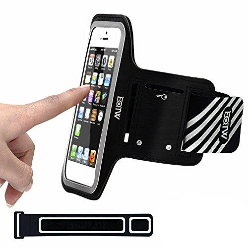 EOTW Fascia da Braccio Bracciale Sportiva per Smartphone iPhone 5/SE/5S/5C/4/4S da Corsa Maratona Palestra Running Jogging (4 inch Nero)