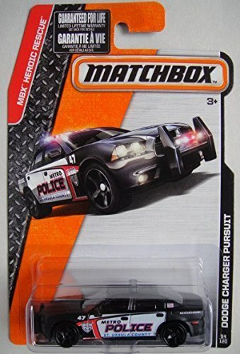 MATCHBOX 2015 RELEASE BLACK DODGE CHARGER PURSUIT METRO POLICE ST. URSULA COUNTY 64/120 (Matchbox Dodge Charger compare prices)