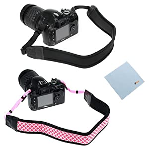 GTMax 2 Pack Pink/Black Anti-Slip Soft Neoprene Camera Shoulder Neck Strap Belt for Nikon P520, P510, L820, L810; GE Power Pro X500 X550; or any other Canon Sony Fuji Olympus Pentax Panasonic Kodak SLR Cameras *with Cleaning Cloth*