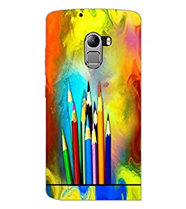 PrintDhaba Colour Pencils D-5847 Back Case Cover for LENOVO VIBE X3 LITE (Multi-Coloured)