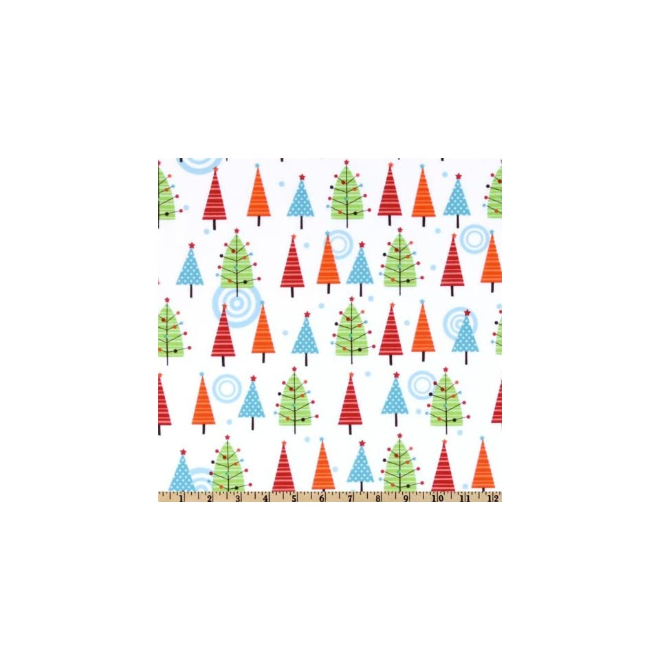 44 Wide Colorful Christmas Trees White Fabric By The Yard