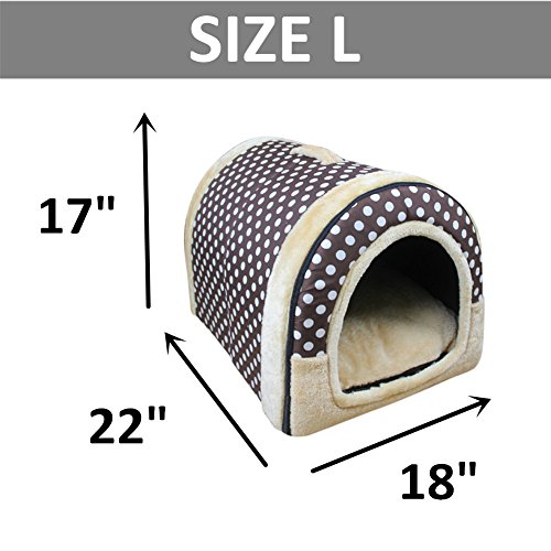 DK Cozy 2-in-1 Pet house and Sofa Non-Slip Dog Cat Igloo Beds 3-Size,Spotty Brown Medium