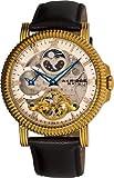 Akribos XXIV Men's AKR452YG Bravura Automatic Dual Time Skeleton Cream Dial Watch