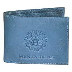 Kan Pure Leather Blue Mens Wallet With Card Holder & Coin Pocket