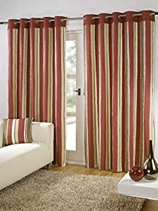 """Striped Cotton Mix Ring Top Lined Red Brown 90"""" X 54"""" Thick Curtains *wotsdap* from Curtains"""