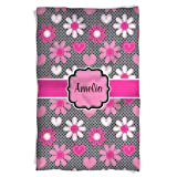 aBaby Personalized Heart Flower Fleece Blanket, Hot Pink, Name Amelia