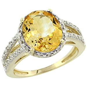 14K Yellow Gold Natural Citrine Diamond Halo Ring Oval 11x9mm, size 8.5