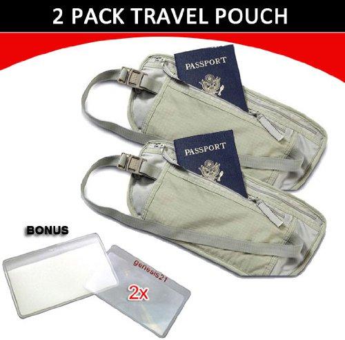 Travel Pouch Compact Security/ Hidden Money Waist Belt – 2 Pack + BONUS