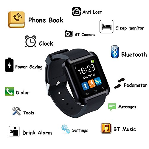 gstek smart watch bluetooth smartwatch armband telefon uhr mit schrittz hler touchscreen f r. Black Bedroom Furniture Sets. Home Design Ideas