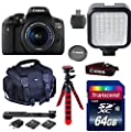 Canon Eos Rebel T6i Digital SLR with EF-S 18-55 IS STM (Silent Motor) Lens + 64GB Class 10 Memory Card + Deluxe Camera Case + Adjustable Tripod + LED Light + Card Reader + Value Bundle + Wi Fi Enabled