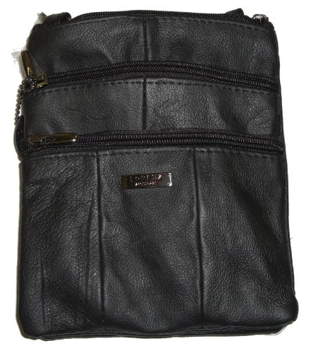Lorenz Ladies Small Genuine Soft Leather Cross Body / Shoulder Bag # 3766 - Black