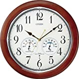 CITIZEN (シチズン) 掛時計 ネムリーナインフォートW 電波時計 温度計付 湿度計付 木枠 8MY464-006