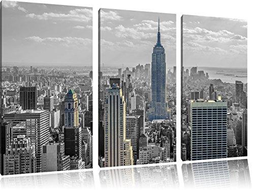 new yorker skyline mit empire state building schwarz wei 3 teiler leinwandbild 120x80 bild auf. Black Bedroom Furniture Sets. Home Design Ideas