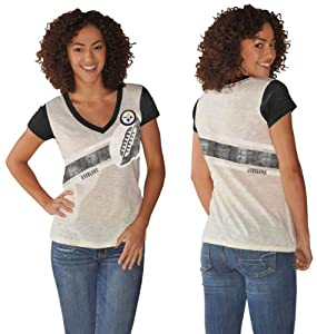 Pittsburgh Steelers Cream/Black Zone Coverage Distressed Logo Womens Deep V-Neck T-Shirt from SteelerMania