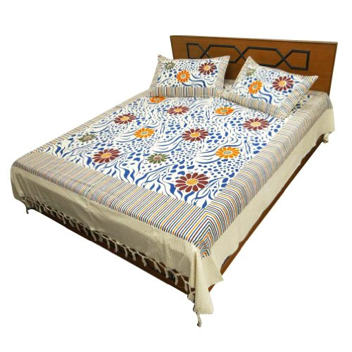 100% Cotton White Bed Sheet Full Size Flat Sheet Floral Print Indian Bed Cover front-990598