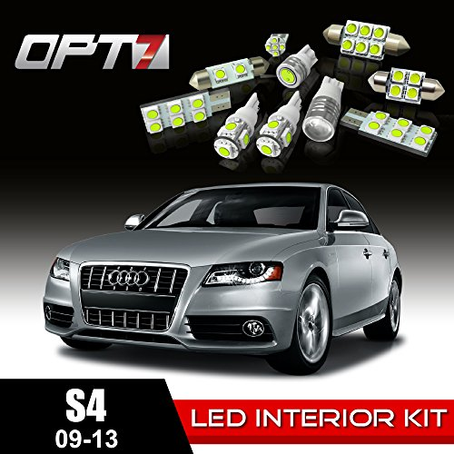 Opt7 12Pc Interior Led Replacement Light Bulbs Package Set For 09-13 Audi A4/S4 B8 | White