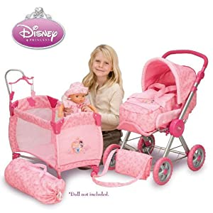 Amazon.com: Disney Princess Baby Doll Stroller and Play ...