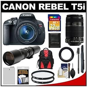 Canon EOS Rebel T5i Digital SLR Camera & EF-S 18-55mm IS STM Lens with EF-S 55-250mm IS & 500mm Telephoto Lenses + 32GB Card + Battery + Backpack + Monopod Kit