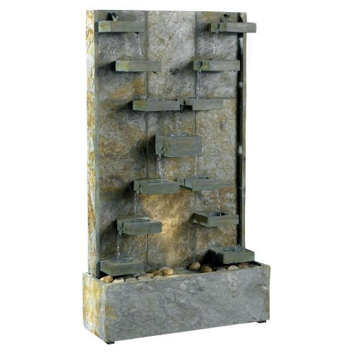 Kenroy Homes 50375SL Watercross Outdoor Floor Fountain, Natural Slate
