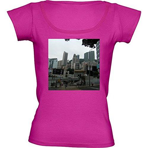 rundhals-rosa-fuchsie-damen-t-shirt-grosse-m-wolkenkratzer-in-hongkong-4-by-cadellin