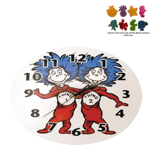 Trend Lab Infant Nursery Newborn Baby Room Decorative Dr. Seuss Thing 1 And Thing 2 Wall Clock front-390112