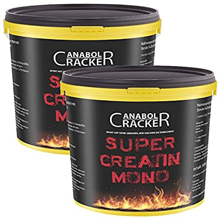 2X Super Creatin Mono, 500g Kreatin Monohydrat Pulver, Taurin, Vitamin B6, Muskelaufbau