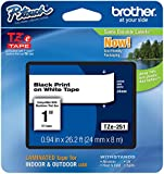 """Brother P-touch ~1"""" (0.94"""") Black on White Standard Laminated Tape - 26.2 ft. (8m)"""