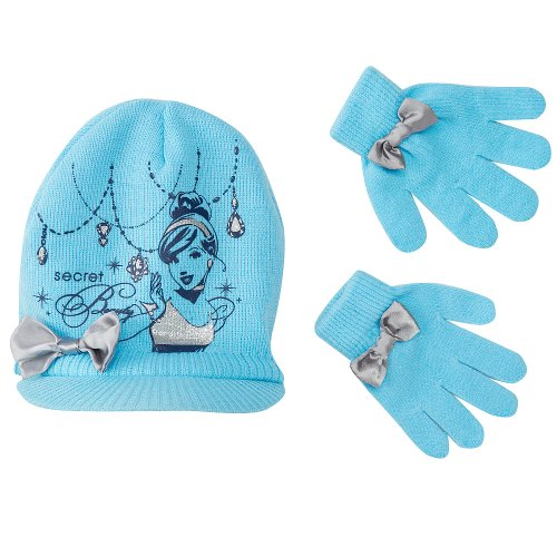 Disney Princesses Cinderella Knit Hat and Glove Set - Blue (One Size)