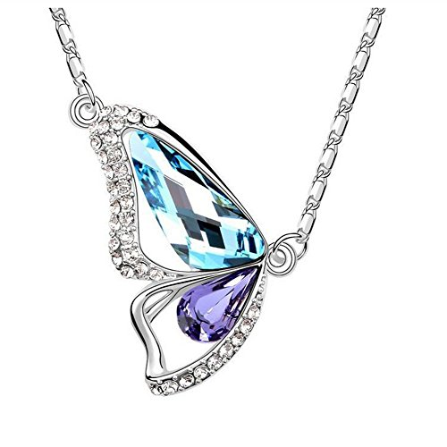 The Starry Night Color Crystal Butterfly Lovers Diamond Accented 18k Insect Necklace for Fashion Womens Girls