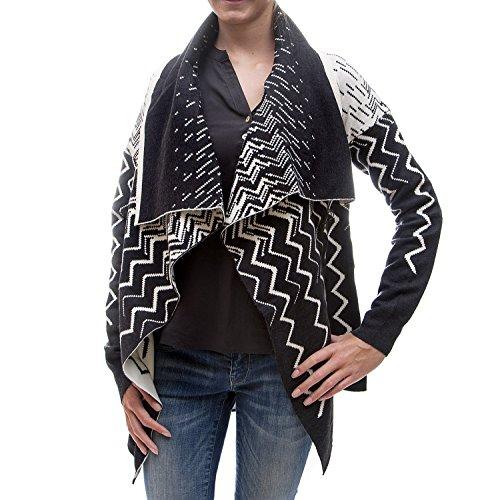 khujo -  Cardigan  - cardigan - Donna EE5 black zig zag pattern XL