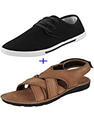 Earton COMBO Pack Of 2 Pair Of Shoes Black & Brown (Casual Shoe & Floater & Sandals)