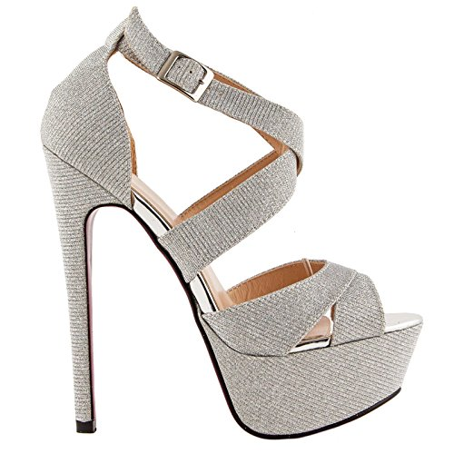 Toocool - Scarpe donna sandali tacchi alti 15 cm plateau lurex glitter nuove 991-19 [39,Argento]