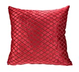Red Velvet Cushion Covers, Diamond Cut Design, Faux Silk Reverse, 18