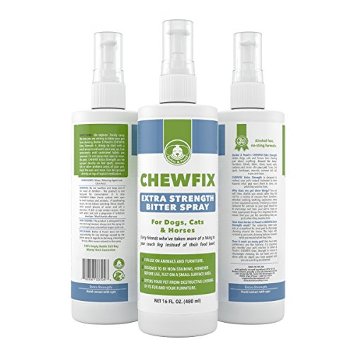 Big 16oz Extra Strength Pet Chew Repellent - Chewfix Bitter Spray - Best Deterrent for Cat & Dog Indoor Furniture Training - Professional, No-Stain No-Sting Formula - 100% 365 Day Guarantee