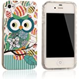 tinxi® Design Silikon Schutzhülle für Apple iPhone 4 4S Hülle TPU Silikon Rückschale Schutz Hülle Silicon Case grüne Eule mit Blatt