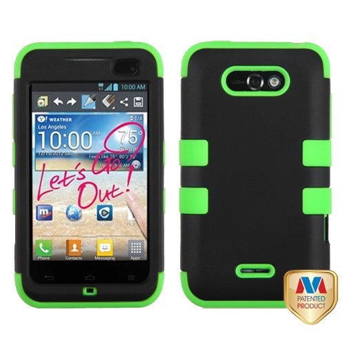 Fits Lg Ms770 Lw770 Motion 4G, Optimus Regard Hard Plastic Snap On Cover Rubberized Black Electric Green Tuff Hybrid Metropcs, Cricket