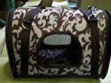 "TBC Pet Carrier: Pet Travel Carrier Tote Bag 14""L X 8""W X 8""H Brown and Tan with Leaf DesigN. Durable Thick & Stiff Canvas Bag with a Removable and Adjustable Shoulder Strap. Perfect for Small Size Pets"