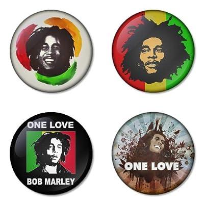 "BOB MARLEY round badges 1.75"" can be choose backside is pinback, mirror, magnet or bottle opener keychain"
