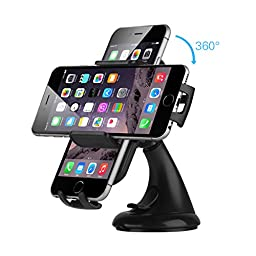 Car Mount, EC Technology Car Holder Windshield Dashboard Universal Car Cradle for iPhone 7 GPS iPhone 6 Plus 5s 5c 4s Samsung Galaxy S6 S6 Edge S5 S4 S3 Note 4 3 etc