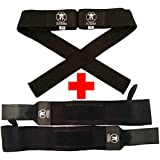 Olympiada Wrist Wraps + Lifting Straps Bundle for Weightlifting, WOD, Crossfit, Workout,Gym, Powerlifting, Bodybuilding - Use Gloves, Wraps, and Hooks for Safety - For Men & Women - Lifetime Guarantee