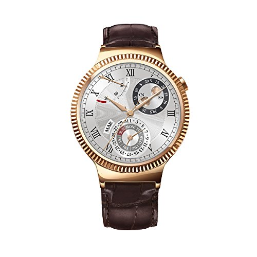 Huawei Watch Rose Gold Plated Stainless Steel with Brown Suture Leather Strap (U.S. Warranty)