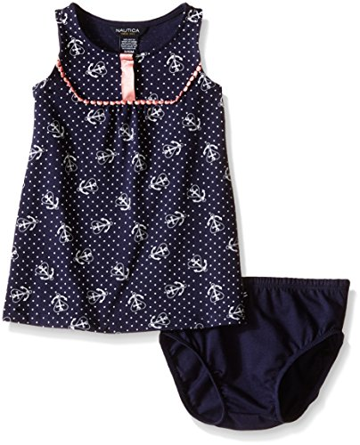 Nautica Baby Anchor Print Tunic Dress, Navy, 12 Months