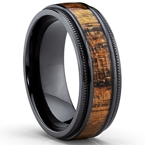 Black Titanium Wedding Band with Real Koa Wood Inlay, Milgrain Ring comfort fit 8MM