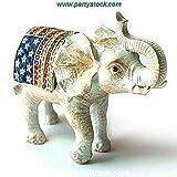 USA Flag Patriotic Elephant Box Swarovski Crystals 24K Gold Jewelry, Trinket ...