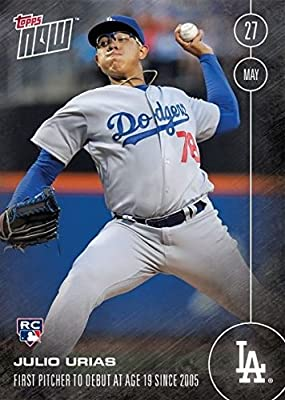 2016 Topps Julio Urias - 2016 Topps Now Card #102 Rookie Debut May 27, 2016 - Los Angeles Dodgers Rookie Phenom (RC) - First Topps Card - Limited Edition Print Run - Shipped in a protective screwdown holder