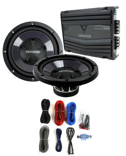 "2) New Kenwood Kfc-W110S 10"" 1400W Car Subwoofers + Kac-5206 400W Amp + Amp Kit"
